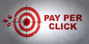 Success advertising concept: arrows hitting the center of target, Red Pay Per Click on wall background, 3D rendering